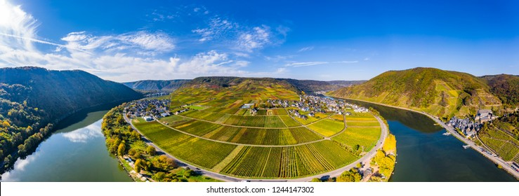 Aerial view, Poltersdorf with vineyards and castle , Mosel,  Rhineland Palatinate, Germany