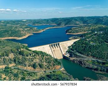 Aerial View of Pomarao Dam, Portugal