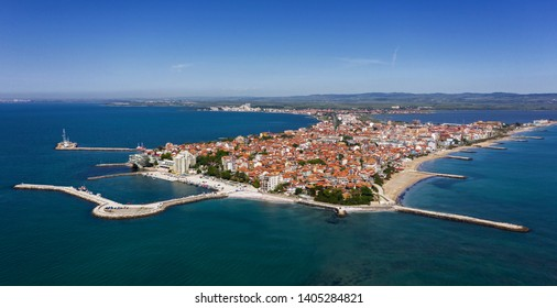 Aerial view to Pomorie city on the Bulgarian Black Sea coast