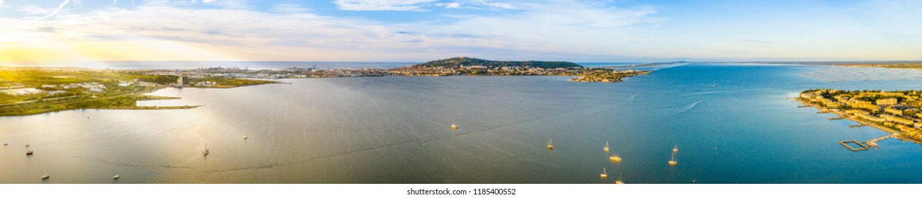 Aerial view of the pond of Thau and Sete from Balaruc les Bains in Occitania, France
