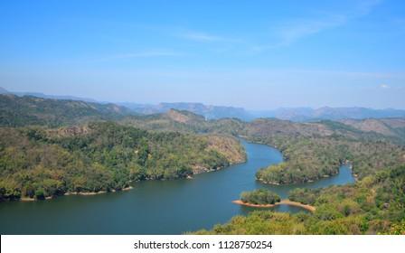 Aerial view of Ponmudi reservoir in Idukki district, Kerala.