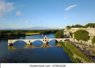 Aerial view of Pont D'Avignon in the city of Avignon, France