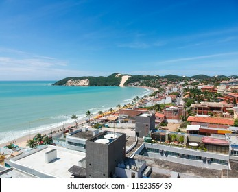 Aerial view of Ponta Negra Beach in Natal, Rio Grande do Norte, Brazil.