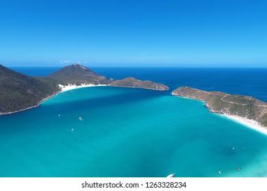 Aerial view of Pontal Beachs, Pontal do Atalaia, Arraial do Cabo, Brazil. Beautiful beach scene. Vacation, travel, resort, peace, tranquility, paradisiac. Tropical travel. Travel destinaton. Caribbean