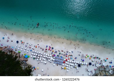 Aerial view of Pontal Beachs, Pontal do Atalaia. Fantastic landscape. Great beach view. Arraial do Cabo, Brazil