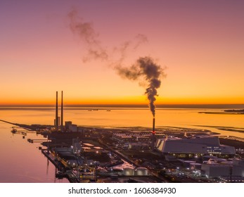 Aerial view of Poolbeg  towers at sunrise.