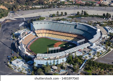 Aerial view of popular Dodger Stadium on April 12, 2017 in Los Angeles, California, USA.