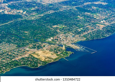 Aerial view of the Port Credit in Mississauga area cityscape at Canada