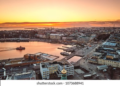 Aerial view, port of Helsinki, historical center, Finland