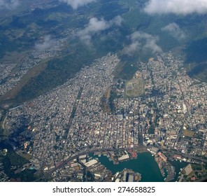 Aerial view of Port Louis Mauritius from the air