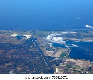 Aerial view of Port Mayaca on Lake Okeechobee, with the Port Mayaca cemetery, and the St. Lucie River.
