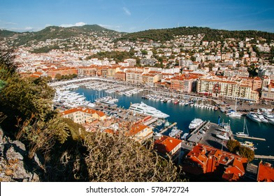 Aerial view of the port of Nice, France in the afternoon