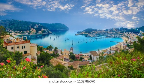 Aerial view of port Soller in Mallorca island, Spain