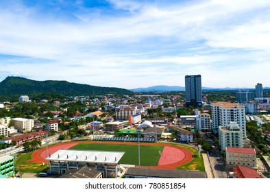 Aerial view of port stadium with building background