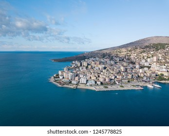 aerial view of  the port of touristic city of saranda. destination in Balkan . cruse ships  park here . sarande Albania Balkan Europe planet earth