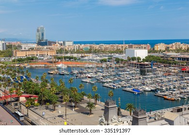 Aerial view of the port Vell in Barcelona, Spain