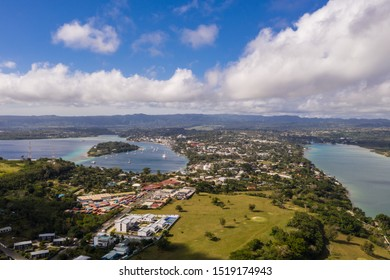 Aerial view of the Port Vila city and bay with the Iririki resort island in Vanuatu capital city in the Pacific.
