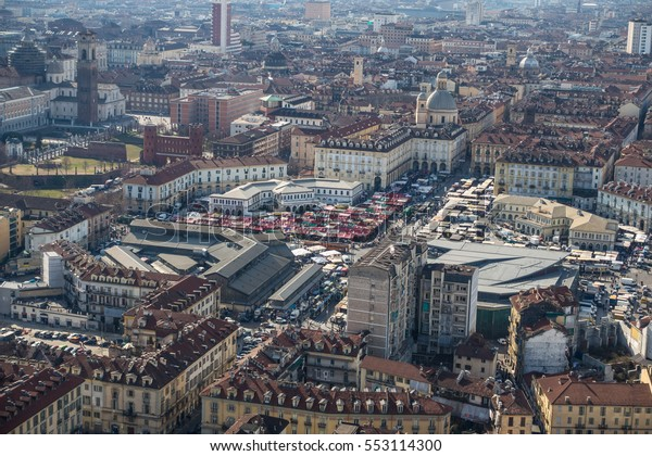 Aerial view of Porta Palazzo from Turin Eye, Italy