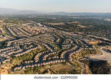 Aerial view of Porter Ranch cul de sac streets and the San Fernando Valley in Los Angeles, California.