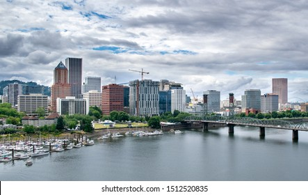 Aerial View of Portland Skyline and Willamette River - Portland, Oregon, USA