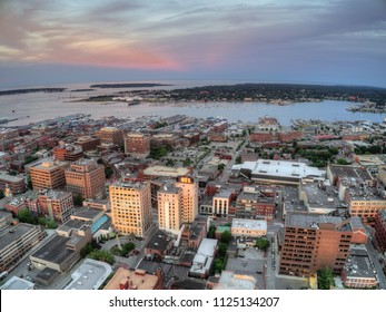 Aerial View of Portland which is the largest City in the State of Maine