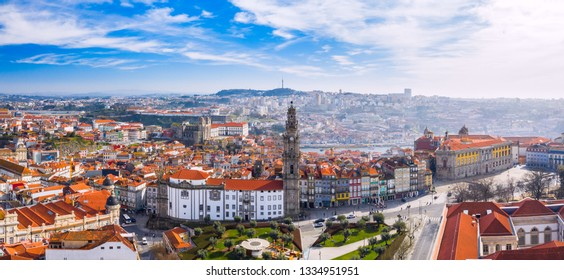 Aerial view of Porto Cityscape, Portugal. One of the oldest European centres with traditional orange roof tiles. Its historical core was proclaimed a World Heritage Site by UNESCO.