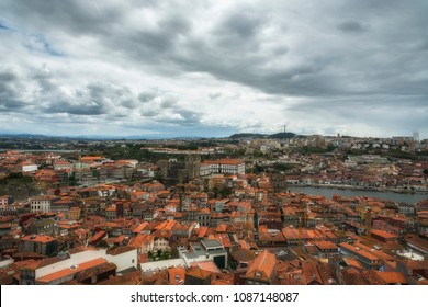 Aerial view of Porto and Douro River from Clerigos Tower. Red roofs. Porto, Portugal.