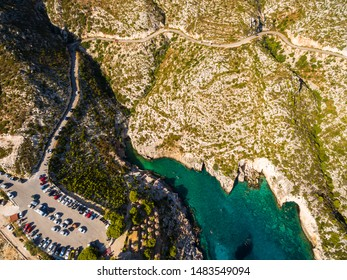 Aerial  view of Porto limnionas beach in Zakynthos (Zante) island, in Greece