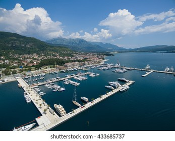 Aerial view of Porto Montenegro. Tivat city, Montenegro
