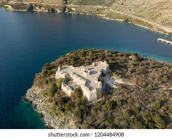Aerial view of Porto Palermo Castle in Himara, Albania