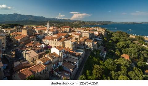 Aerial view of Porto-Vecchio old town, Corsica, France