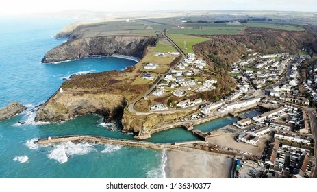 Aerial view of Portreath Harbour, Cornwall, England