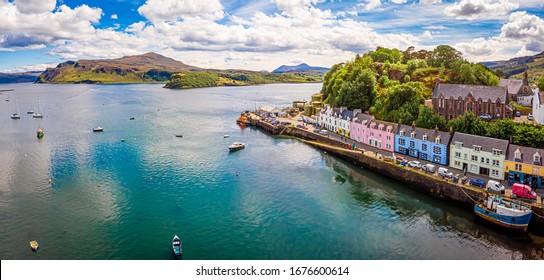 Aerial view of Portree, Isle of Skye, Scotland, UK