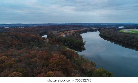 An aerial view of the Potomac River at the Red Rocks Overlook by Leesburg, Virginia.