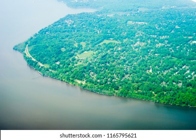 Aerial view of Potomac River in Washington DC and Virginia