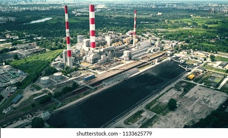 Aerial view of power plant and coal storage