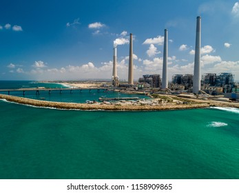 Aerial view of Power plant Orot Rabin (Rabin's Lights) on the Mediterranean coast near the city of Hadera, Israel.