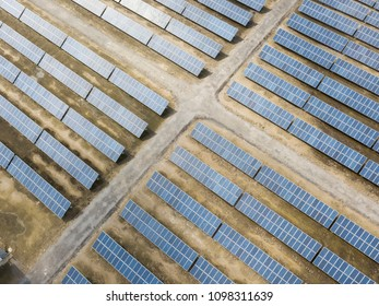 Aerial view of the Power plant using renewable solar energy