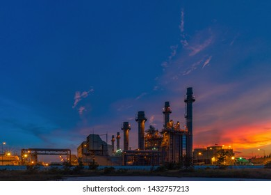 Aerial view Power plants, petrochemical plants At sunset,Twilight.