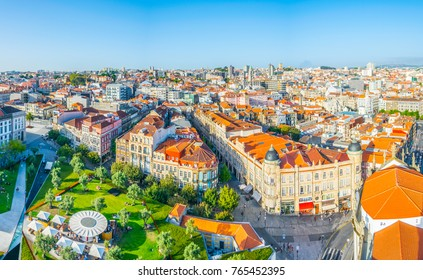 Aerial view of praca de Lisboa in Porto, Portugal.