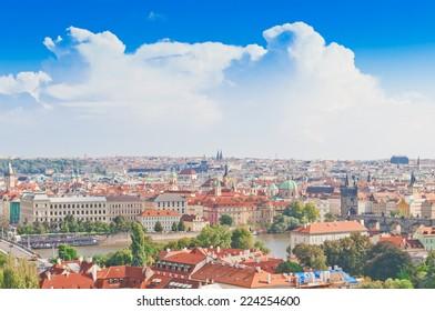 Aerial view of Prague from Prague Castle. Prague, Czech Republic