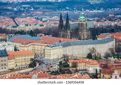 Aerial view of Prague Castle, St. Vitus Cathedral and surrounding areas. Czech Republic, Europe