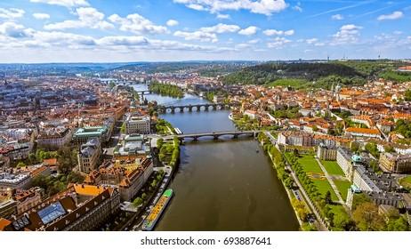 Aerial View Of Prague Cityscape Skyline In Czechia