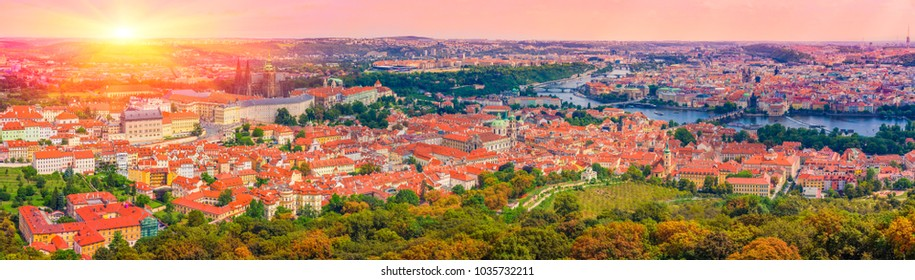 Aerial view Of Prague, Czech Republic /  Panorama Of Old Town In Prague