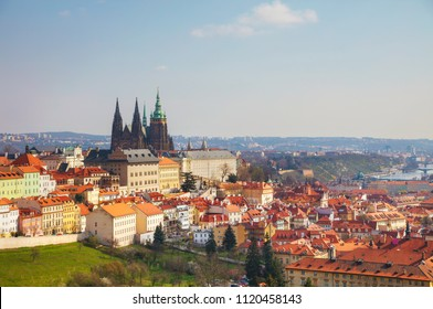 Aerial view of Prague on a sunny day as seen from Petrin hill