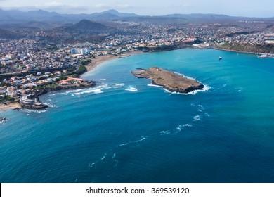 Aerial view of Praia city in Santiago - Capital of Cape Verde Islands - Cabo Verde