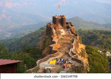 Aerial view of Pratapgad fort, Satara. Pratapgad literally Valour Fort is a large fort located in Satara district, in the Western Indian state of Maharashtra.