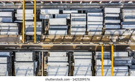 Aerial view precast concrete plant, Precast reinforced concrete slabs.