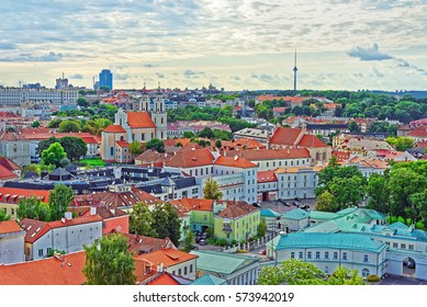 Aerial view to Presidential Palace in Vilnius, Lithuania