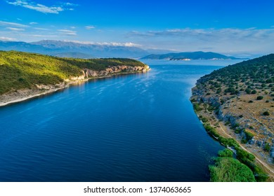 aerial view of the Prespes lake in Northern Greece